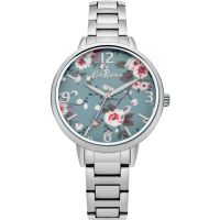Damen Cath Kidston Trailing Rose Silber Armband Uhr