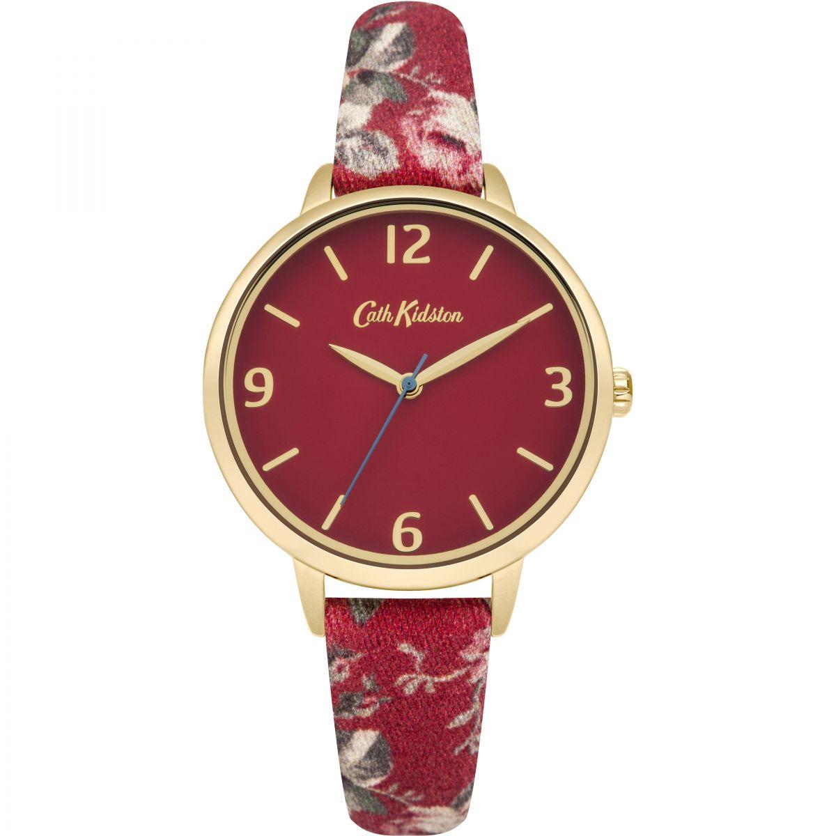 damen cath kidston garten rose rot fabric armband uhren ckl002rg. Black Bedroom Furniture Sets. Home Design Ideas
