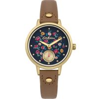 Cath Kidston Little Flower Buds Tan Leather Strap sub Dial Damklocka Brun CKL005TG