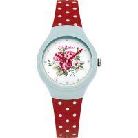 Damen Cath Kidston Spray Blumen Rot gepunktet Silicone Armband Uhr
