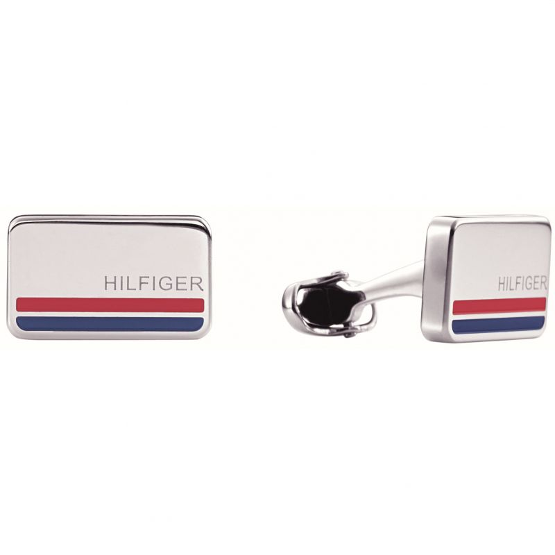 Mens Tommy Hilfiger Stainless Steel Rectangle Cufflinks 2700588