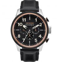 Herren Nixon The Safari dual Zeit Leder Chronograf Uhren