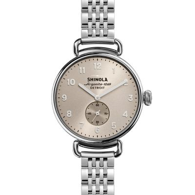 Unisex Shinola Canfield 38mm Sub Second Polished SS 7 Link Chronograph Watch S0120004466
