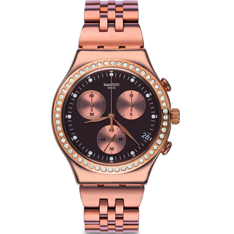 Damen Swatch Precious Rose Chronograph Watch YCG414G