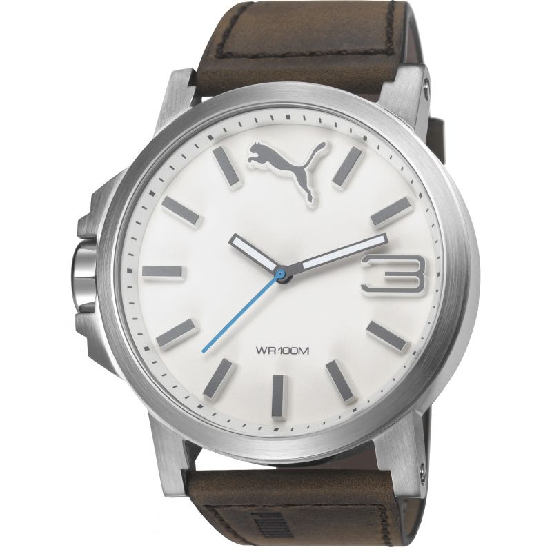 Mens Puma PU10346 ULTRASIZE 50 -silver brown leath Watch