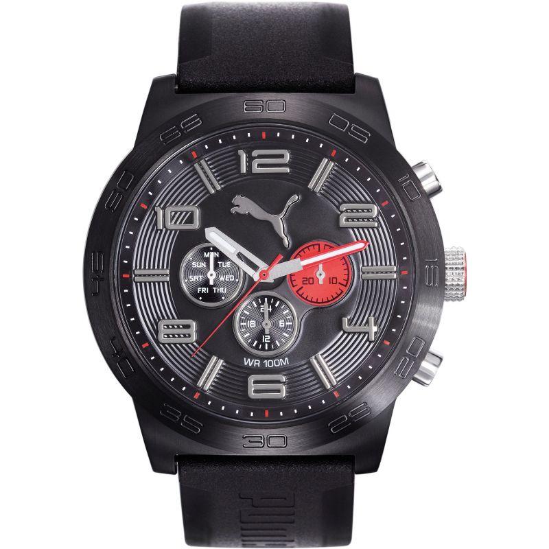 Mens Puma PU10422 DEFINITION - black red Watch