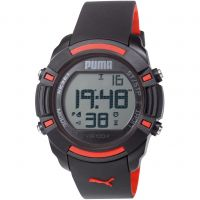 Herren Puma PU91122 SIXTY BYTES - black red Wecker Chronograf Uhr