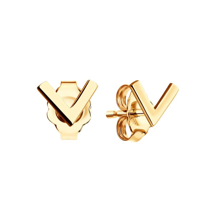 Ladies Sokolov 14 Carat Gold Geometric Stud Earrings 61021005
