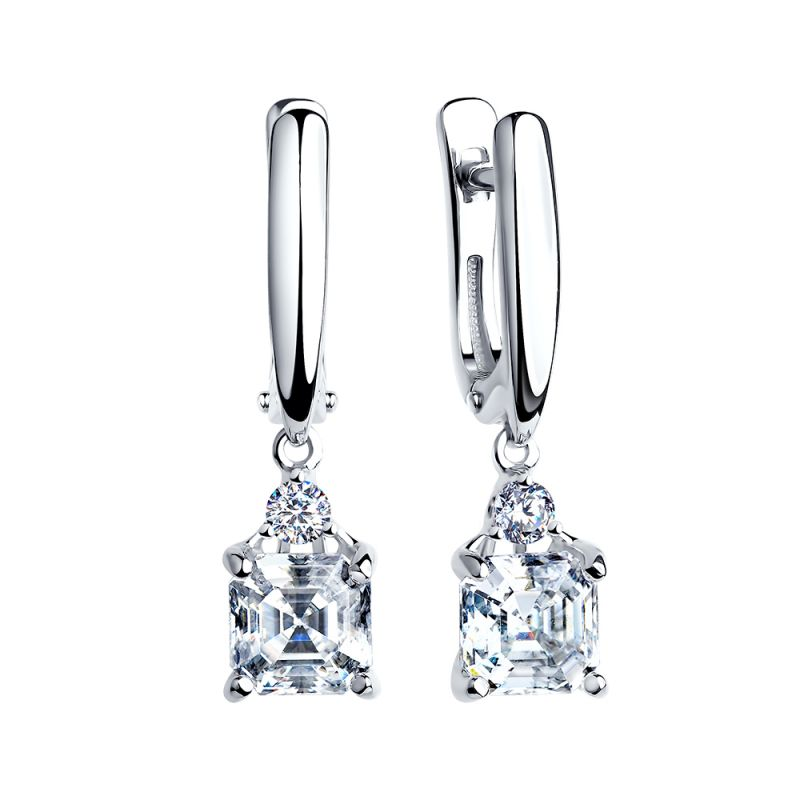 Ladies Sokolov Sterling Silver Starlight Square Cubic Zirconia Earrings 89020028