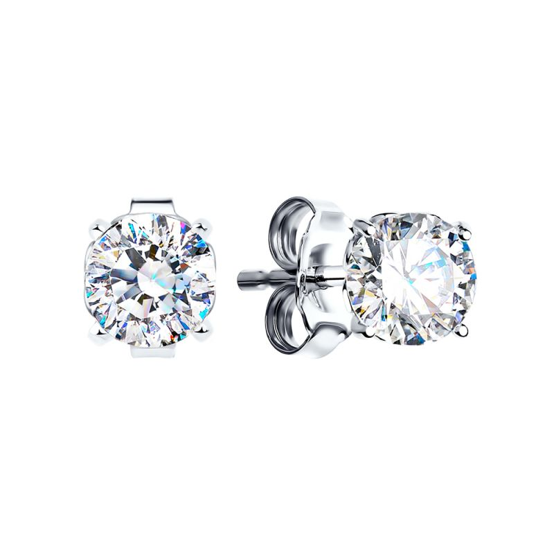 Ladies Sokolov Sterling Silver Starlight Round Cubic Zirconia Stud Earrings 89020003