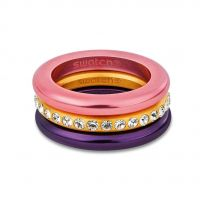 Ladies Swatch Bijoux Stainless Steel Merry Pink Ring Size N