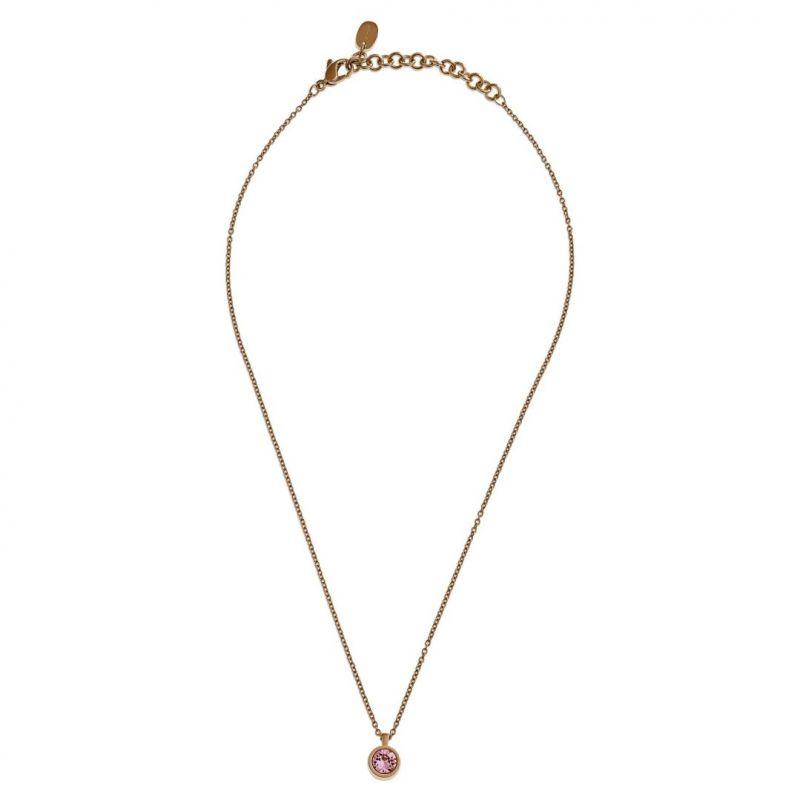 Ladies Swatch Bijoux Gold Plated Puntoluce Pink Crystal Necklace JPP018-U