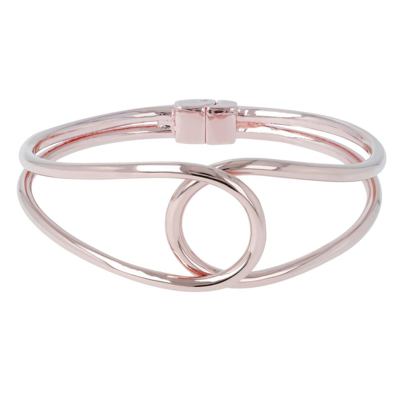Ladies Bronzallure 18ct Rose Gold Plated Bronze Purezza Shiny Design Bangle WSBZ00765.MED