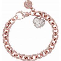 Damen Bronzallure 18ct Rose vergoldet Bronze Victoria Oval Rolo Armband with Pave Herz Anhänger