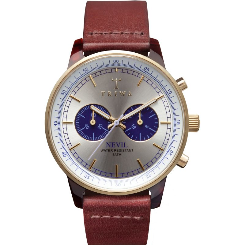 Mens Triwa Blue Face Nevil 2.0 Chronograph Watch