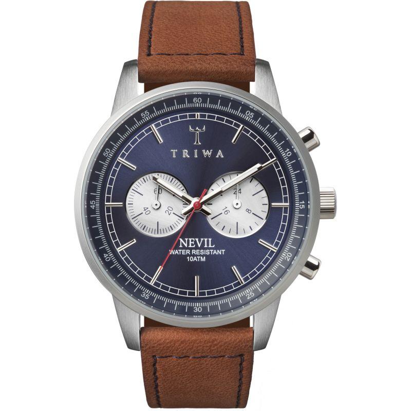 Mens Triwa Blue Steel Nevil 2.0 Chronograph Watch