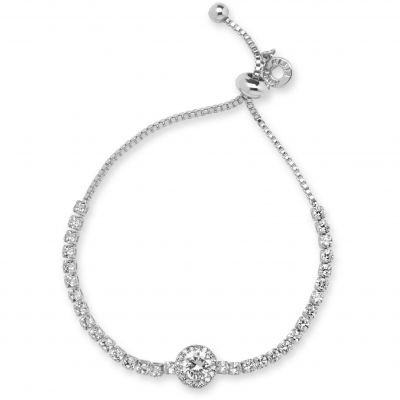 Ladies Anne Klein Silver Plated Crystal Bracelet 60449735-G03