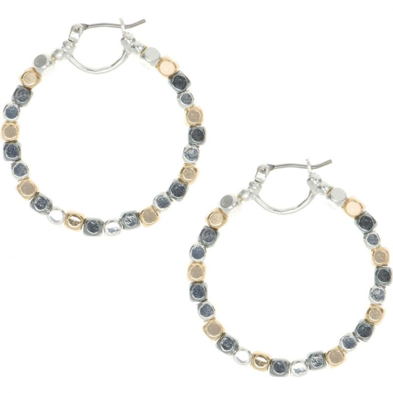 Mens Nine West Two-tone steel/gold plate Beaded Hoop Earrings 60450301-Z01