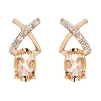 Biżuteria damska Gemstone Jewellery Morganite & White Zircon Crossover Stud Earrings OJS0015E-MO