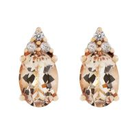 Biżuteria damska Gemstone Jewellery Morganite & White Zircon Stud Earrings OJE0174-MO