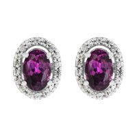 Ladies Gemstone Sterling Silver Purple Rhodolite & White Zircon Cluster Stud Earrings OJS0004E-PR