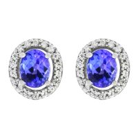 Gemstone Dames Oval Tanzanite & White Zircon Cluster Stud Earrings Sterling Zilver OJS0005E-TZAA