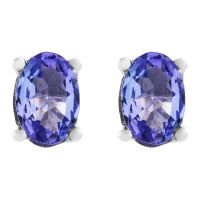 Biżuteria damska Gemstone Jewellery Oval Tanzanite Stud Earrings OJS0006E-TZAA