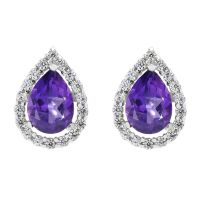 Ladies Gemstone Sterling Silver African Amethyst TearCluster Stud Earrings G0119E-AA