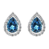 Ladies Gemstone Sterling Silver London Blue Topaz Cluster Stud Earrings G0119E-LBT