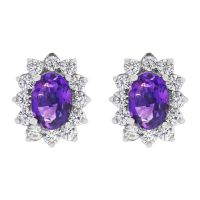 Ladies Gemstone Sterling Silver African Amethyst TearCluster Stud Earrings G0111E-AA