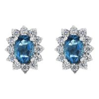 Gemstone Dam London Blue Topaz Cluster Stud Earrings Sterlingsilver G0111E-LBT