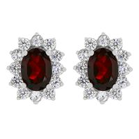 Biżuteria damska Gemstone Jewellery Garnet Cluster Stud Earrings G0111E-GA