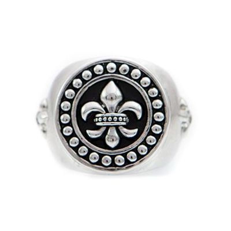 Mens Icon Brand Silver Plated Rebel Heritage Lys Sovereign Ring Size Large RH016-R-SIL-LGE
