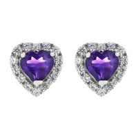 Biżuteria damska Gemstone Jewellery African Amethyst and Cubic Zirconia Heart Stud Earrings G0047E-AA