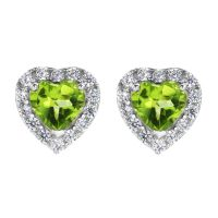 Biżuteria damska Gemstone Jewellery Peridot and Cubic Zirconia Heart Stud Earrings G0047E-PE