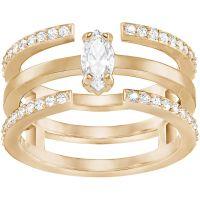 Ladies Swarovski Rose Gold Plated Size L Gray Ring 5294981