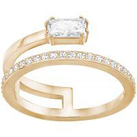 Ladies Swarovski Rose Gold Plated Size N Gray Ring 5265698