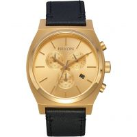 homme Nixon The Time Teller Chrono Leather Chronograph Watch A1164-510