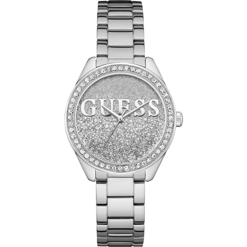 GUESS Ladies silver watch with silver and white glitter logo dial.