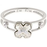 Damen Karen Millen Silber Plated Kunst Glas Blume Ring Größe SM