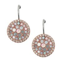 Fossil Dam Mother of Pearl Disc Earrings Tvåfärgad beläggning i stål och roséguld JF01737791