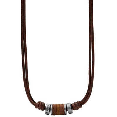 Mens Fossil Gunmetal PVD Leather Necklace JF00899797