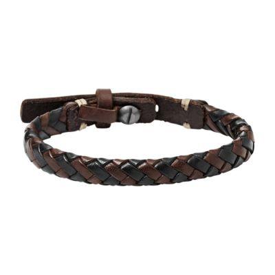 Mens Fossil Gunmetal PVD & Leather Bracelet JA5932716