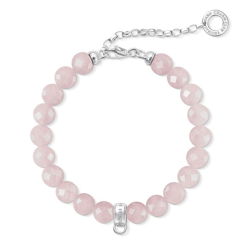 Ladies Thomas Sabo Sterling Silver Charm Club Rose Quartz Bracelet X0227-034-9-L18,5V