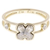 femme Karen Millen Jewellery Art Glass Flower Ring Size ML Watch KMJ925-30-02ML