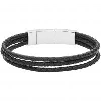 Mens Fossil Stainless Steel Magnetic Clasp & Leather Bracelet JF02682040