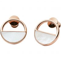 Skagen Dames Elin Mother Of Pearl Stud Earrings Verguld Rose Goud SKJ0998791