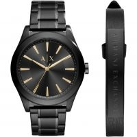 Mens Armani Exchange Leather Bracelet Gift Set Watch
