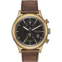 Mens Nixon The Station Chrono Leather Chronograph Watch