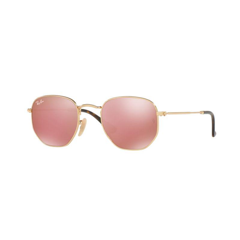 Mens Ray-Ban Hexagonal Flat Lens Sunglasses RB3548N-001/Z2-48